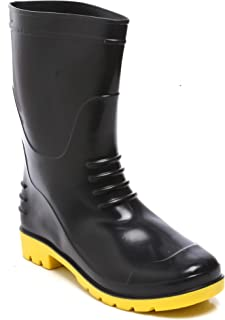 "Agarson Full PVC Dual Density High Ankle Safety Gum Boots (12"" Height); BAHUBALI, Size_7"