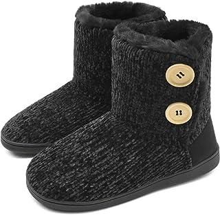 KuaiLu Womens-Memory-Foam-Slipper-Boots, Fluffy Plush Faux Fur Lined House Slipper Boots Ladies, Chenille Knit with Warm F...