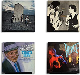 Hudson Hi-Fi LP Vinyl Record Wall Display   Black Satin   Display Your Daily Listening in Style   Four Pack