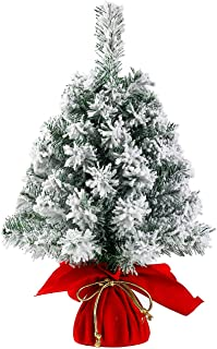 Sunnyglade 20Inch Tabletop Christmas Tree Mini Snow Flocked Artificial Christmas Tree for Table Top Desk Classic Series Holiday Decoration (White)