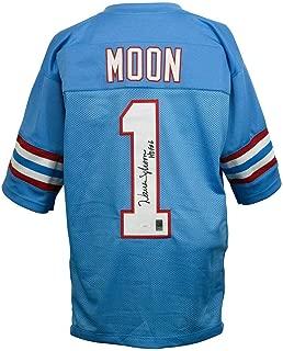 Warren Moon Signed Jersey - Blue Pro Style 143769 - JSA Certified - Autographed NFL Jerseys