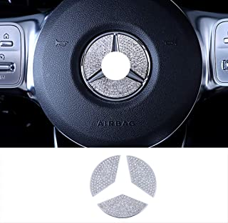 ACAMPTAR 12Pcs Car Styling Volante Cubiertas de Botones Adornos para Mercedes GLC X253 2015 2016 y Clase C W205 2014 2015 Plata ABS