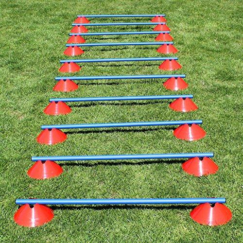 Mini-Hürden 10er Set, rote Markiermulden und Blaue Stangen, für Agility-Training