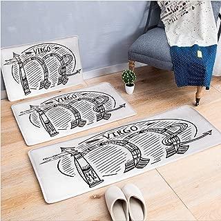 3 Piece Non-Slip Doormat 3d print for Door mat living room kitchen absorbent kitchen mat,Zodiac Sign Astrologic Celestial Alignments,15.7
