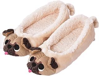 MiYang Women's Plush Warm Animal Soft Cute Home Slippers Dog 7-8 B(M) US