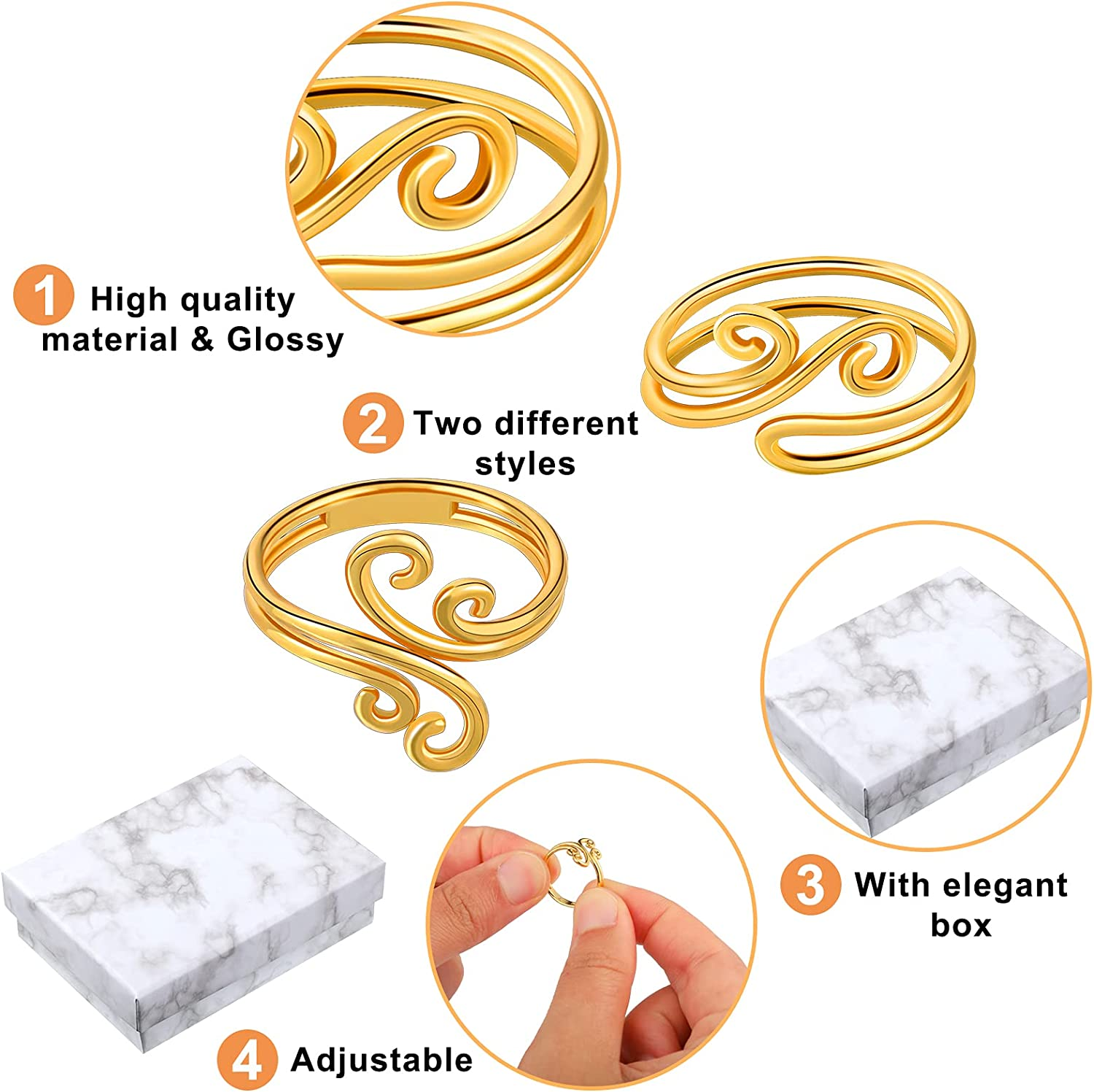4 Pieces Adjustable Toe Rings Swirl Toe Rings Adjustable Gold Band Ring Gold Band Toe Ring Gold Metal Open Rings Swirl Thumb Ring Adjustable Gold Foot Ring with Box for Women Girl Teen Girlfriend