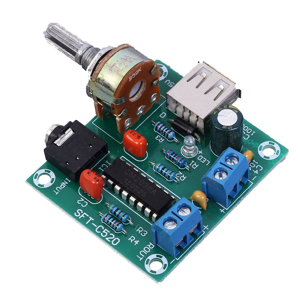 Icstation PM2038 Denver Mall 2X5W Stereo Audio USB Board Powere 5V Wholesale Amplifier