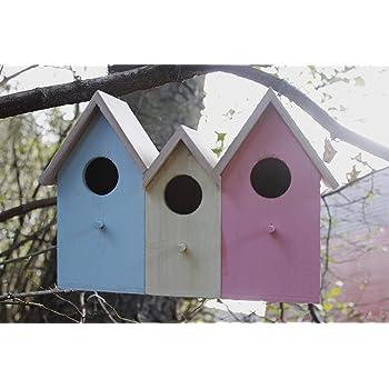 Triple 3 in 1 Wooden Nesting Wild Bird Box House Small Birds Robin Modern NEW