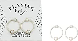 Playing By Ear, Two Hole Lip Card, Ring with Pearl and Opal Essence Bezeled Earrings
