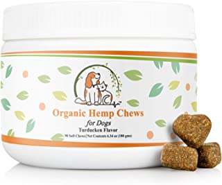 Valerio Organic Dog Hemp Chews 90ct- Dog Anxiety Relief Treat - USDA Organic Hemp Oil, Dog Calming Aid, Dog Chew, Chamomile for Joint Pain & Calming. Turkey, Duck, Chicken Flavor to Keep Your Dog Calm