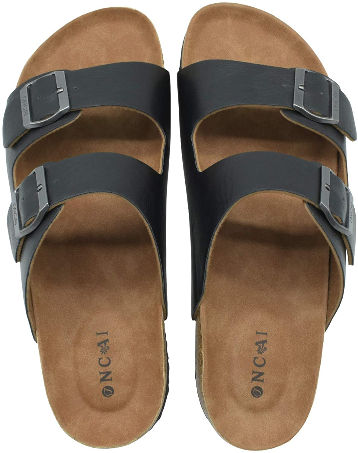 ONCAI Men's-Slide-Sandals-Beach-Slippers-Arizona Slippers Shoes Indoor and Outdoor Anti-skidding Flat Cork Sandals and Beach Slippers with Two Adjustable Straps