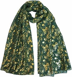 Gold Glitter Floral Pattern Scarf Shawl Hijab