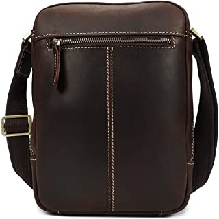 SHANGRUIYUAN-Bags Men's Classic Crossbody Shoulder Bag Retro The First Layer of Leather Crazy Horse Skin Leather Bag (Color : Brown, Size : S)