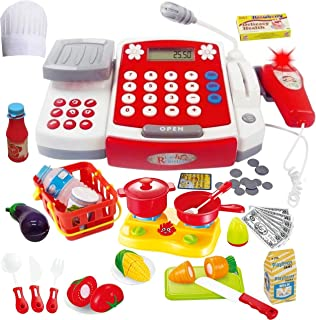 Toy Cash Register with Scanner – Microphone – Calculator – Play Pots..