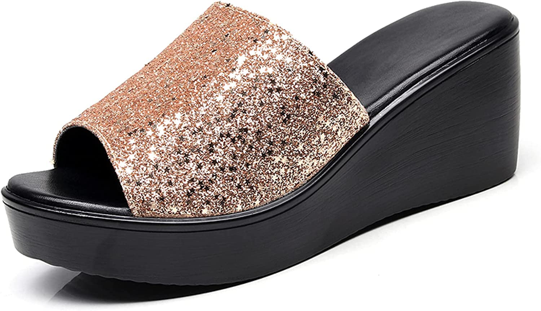 Btrada Women's Fashion Sequins Wedge Sandals Comfy Peep Toe Platform Slides Waterproof High Heel Outdoor Shoes for Ladies