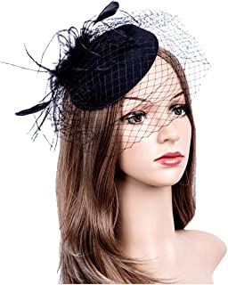 dcaa8491dd5a4 Fascinators Hats 20s 50s Hat Pillbox Hat Cocktail Tea Party Headwear with  Veil for Girls and