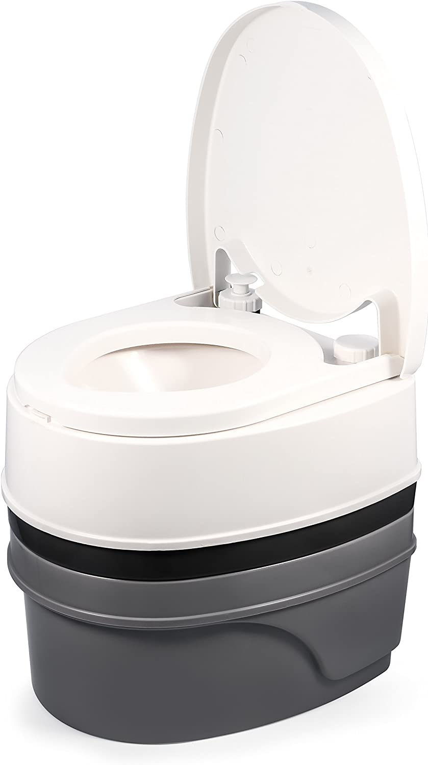 Amazon.com: Camco Premium Portable Travel Toilet With Three Directional  Flush and Swivel Dumping Elbow   Designed for Camping, RV, Boating And  Other Recreational Activities - (5.3 gallon) (41545),White : Automotive
