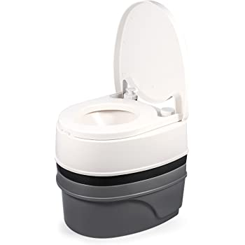 Camco Premium Travel Toilet with Detachable Tank- Simple Use and Maintenance | Excellent Outdoor Toilet Designed for Camping, Hiking, Boating, Rving and More | 5.3 Gallon Capacity Commode)(41544)