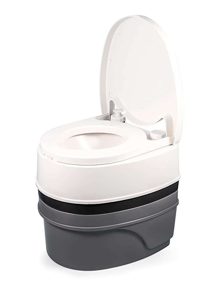 Camco Premium Travel Toilet with Detachable Tank- Simple Use and Maintenance|Excellent Outdoor Toilet  Designed for Camping, Hiking, Boating, Rving and More|5.3 Gallon Capacity Commode - (FFP)(41544)