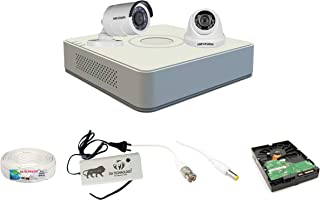 SIA TECHNOLOGY Hikvision 4 Ch HD DVR and Bullet; Dome HD Camera Combo kit; Include All Require Accessories for 2 Camera In...