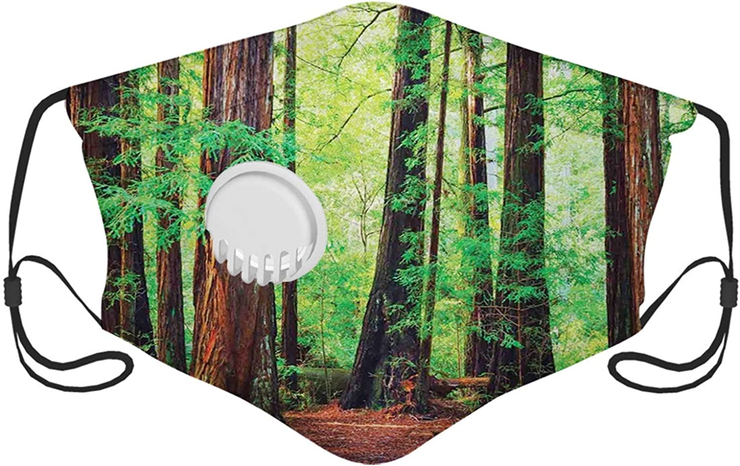 Woodland, Redwood Trees Northwest Rain Forest Tropical Scenic Wild Nature Branch, Brown Green Face Mask Reusable Washable Masks Cloth for Men and Women