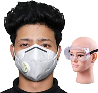 HACER Combo of 1 Piece Goggle K-N95 FDA Approved 5 Layer Disposable Face Mask with Filter & Nose Pin Respirator for Men & Women (2 Pcs)