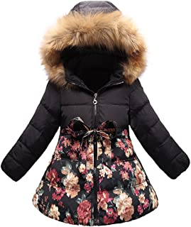 SS&CC Girls' Long Flower Printing Bowknot Winter Coat Hooded Jacket, Most Wished Gift