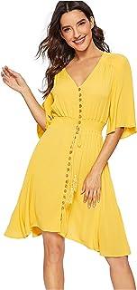 99209ef7e0 Milumia Women s Boho Button Up Split Floral Print Flowy Party Dress