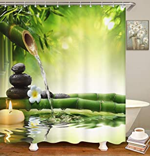 Britimes Shower Curtain Spa Stones Garden Flow Water Bamboo Zen Green Waterproof Polyester Fabric Bathroom Decor Bath 72 x 72 Inches Set with Hooks