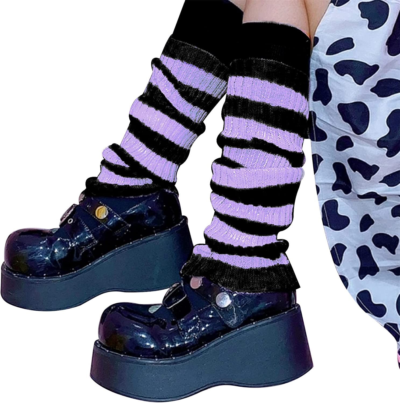 Women Striped Knitted Long Tube Socks Y2K Loose Japanese Bubble Stocking JK Uniform Casual Over the Knee Warmers Socks