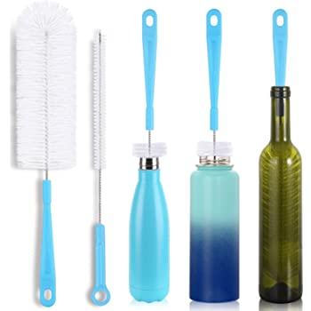"16"" Bottle Brush Cleaner for Water Bottle - Long Handle Bottle Brush for Cleaning Thermos Hydro Flask Contigo S'Well Simple Modern Narrow Neck Sport Bottles Kombucha Beer Bottle and Jugs, Set of 2"