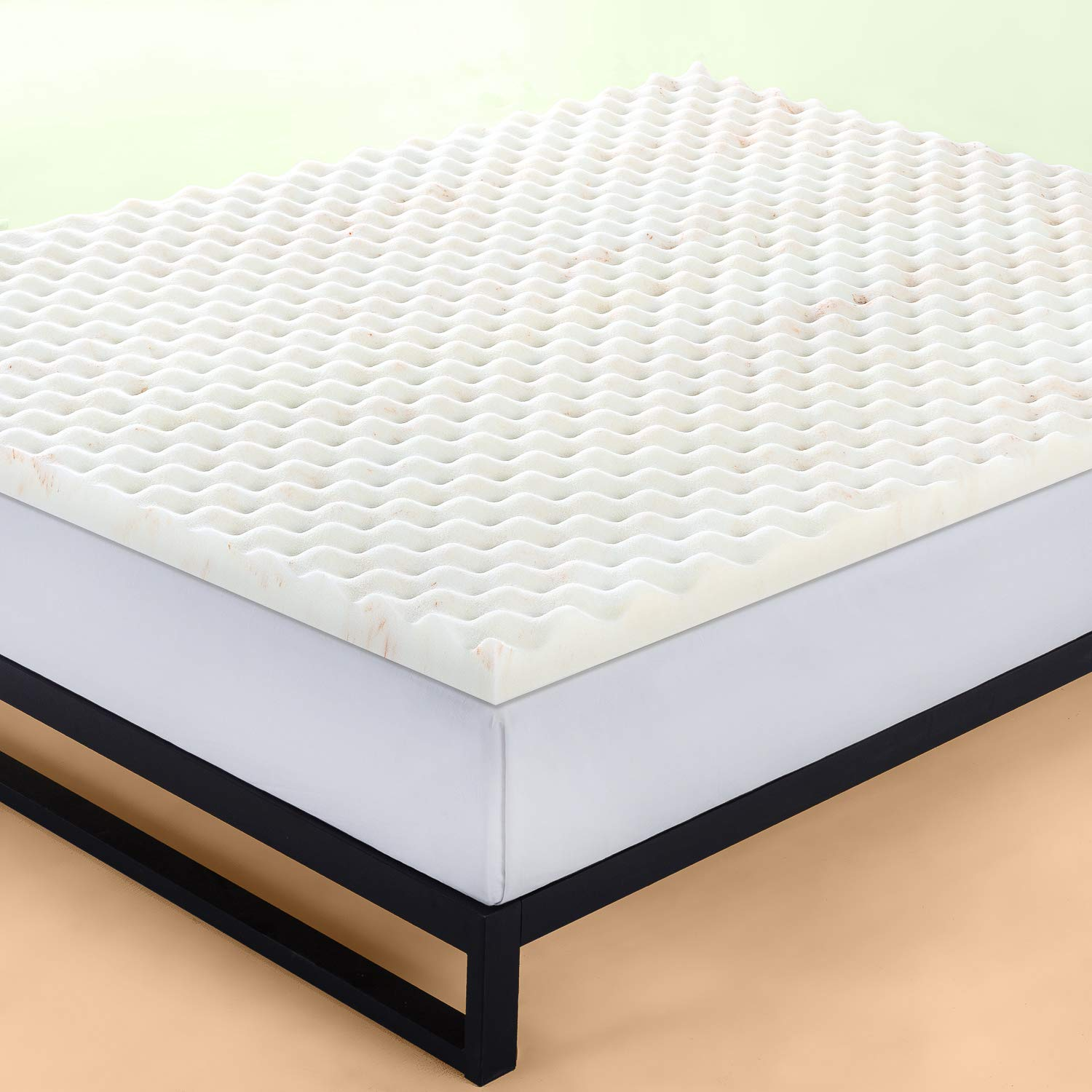 Queen Orange Zinus 1.5 Inch Cooling Convoluted Copper Memory Foam Mattress Topper with Air Flow Design//Antimicrobial Foam//Odor-Resistant//Pressure Relieving Contoured Surface