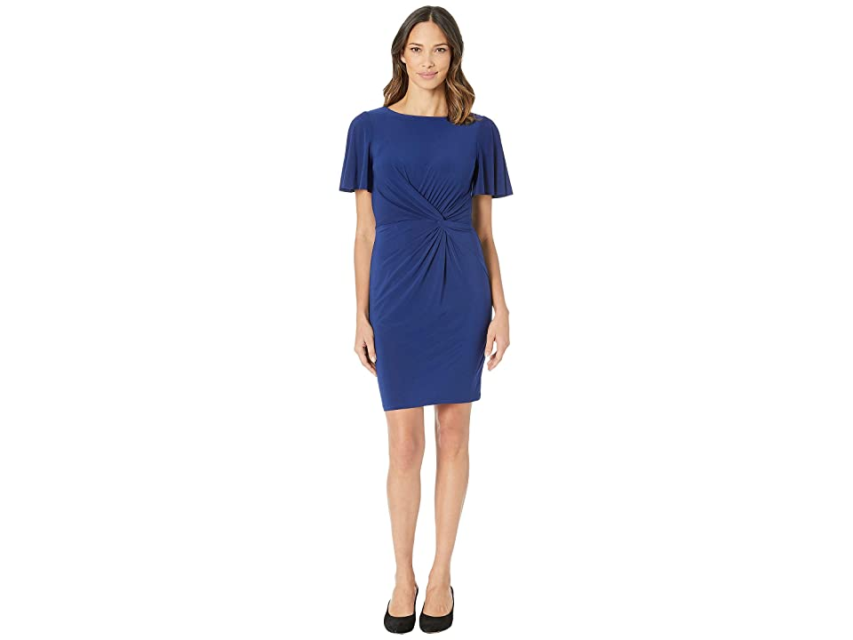 LAUREN Ralph Lauren 4R Matte Jersey Beckyann Short Sleeve Day Dress (Rich Sapphire) Women