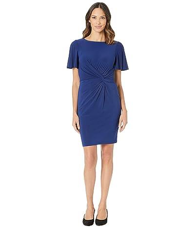 LAUREN Ralph Lauren 4R Matte Jersey Beckyann Short Sleeve Day Dress (Rich Sapphire) Women