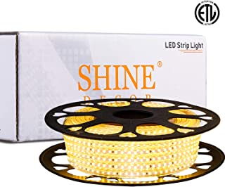 Shine Decor 6x10mm Dimmable LED Strip Lights, 50ft 3000K Warm White, 110V Flexible Waterproof Rope Lights, 2835 120LEDs/M, for Indoor Outdoor Commercial Lighting Decoration, Accessories Included