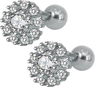 ZeSen Jewelry 16g Sparkling zirconi in acciaio inox Orecchini Tragus Helix Conch cartilagine dell'orecchio penetrante