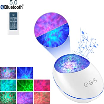Righting Ocean Wave Night Light Projector, Night Projection Lamp with Bluetooth and Timer, 7 Color Modes and 8 Ambient Nature Tunes with Remote & Touch Control for Baby Kids Adults Bedroom