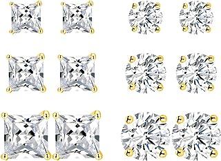 6 أزواج من الذهب المطلي عيار 18 قيراطًا مرصعًا بأحجار الزركونيا المكعبة مجموعة الأميرة جولة شفافة براقة تشيكوسلوفاكيا لا ت...