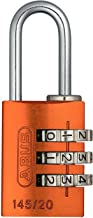 ABUS Cijferslot 145/20 oranje - hangslot van massief aluminium - met individueel instelbare cijfercode - 46607 - niveau 3