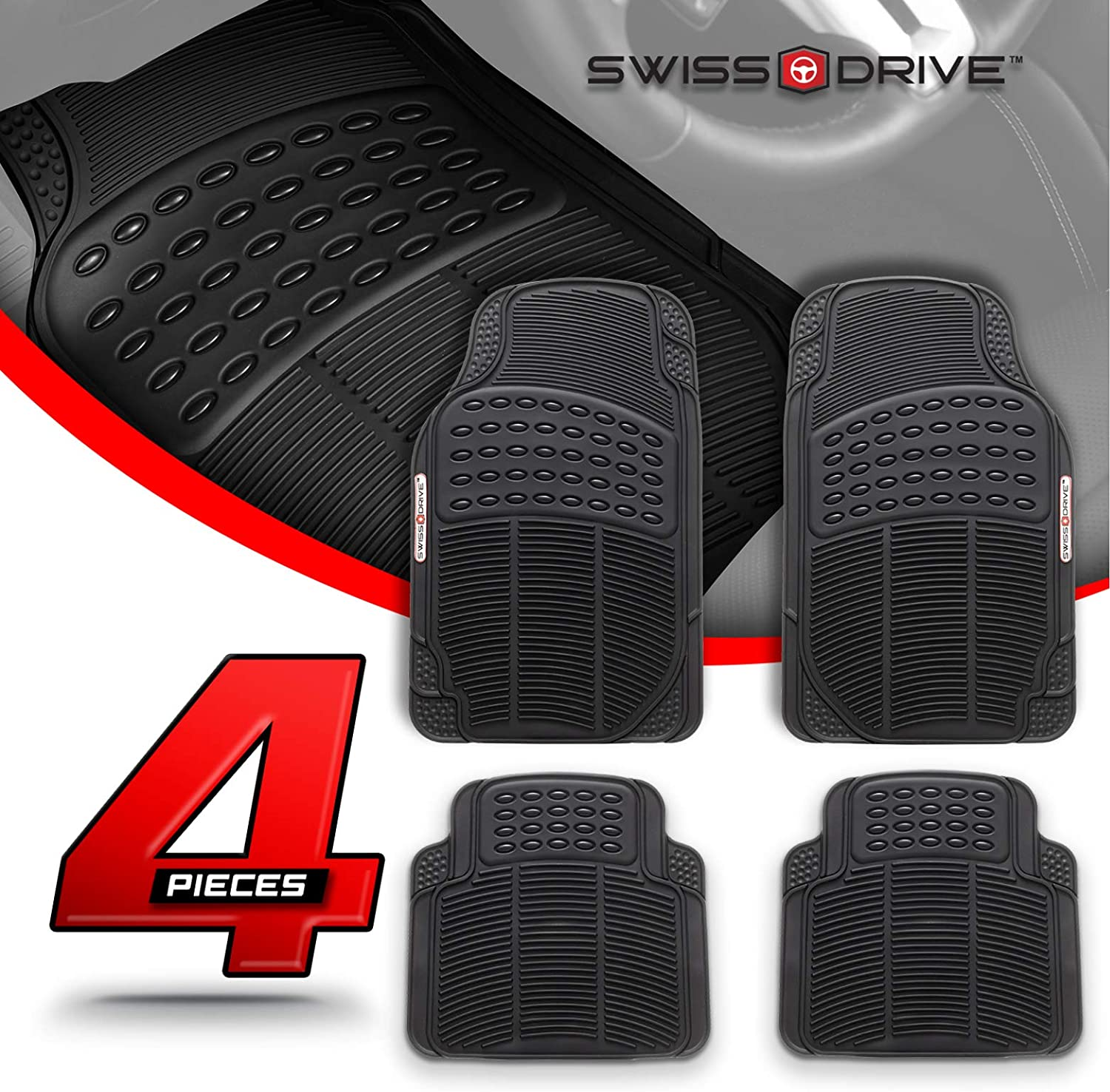 Swiss Drive Rubber Car Mats 3pcs Conti Car Floor Mats Rubber Front and Rear PVC Rubber Floor Mats for Cars SUV Van Truck All-Weather Protection Mats Grey Heavy-Duty Mats with Trimmable Design