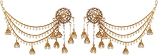 Indian Bollywood Jewelry 14K Gold Plated Big Stud Earrings with Layered Faux Pearl Jhumka Tassels Ear Support Chain Hair Accessory