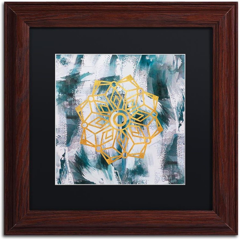 Trademark Fine Art Mandala by Lisa Powell brown Wall Art, Black Matte, Wood Frame 11x11