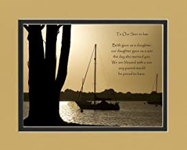 Son-in-Law Gift with Son-in-Law Poem for Wedding, Welcome to the Family, Christmas or Birthday Gifts for Son-in-law, Boats at Dusk Photo, 8x10 Double Matted.