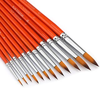 Watercolor Paint Brushes Set - 12Pcs Round Pointed Painting Brush for Acrylic, Gouache, Oil, Artist, Miniature, Model - Sh...