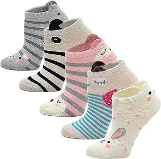 LOFIR Calcetines Divertidos de Algodón para Niñas Calcetines con Dibujos de Animal Perro Gato, Calcetines Vistosos, Calcet...