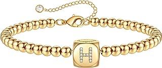 Gold Initial Bracelets for Women Girls, 14K Gold Plated Handmade Letter Bead Bracelet Personalized Initial Gold Bracelets ...