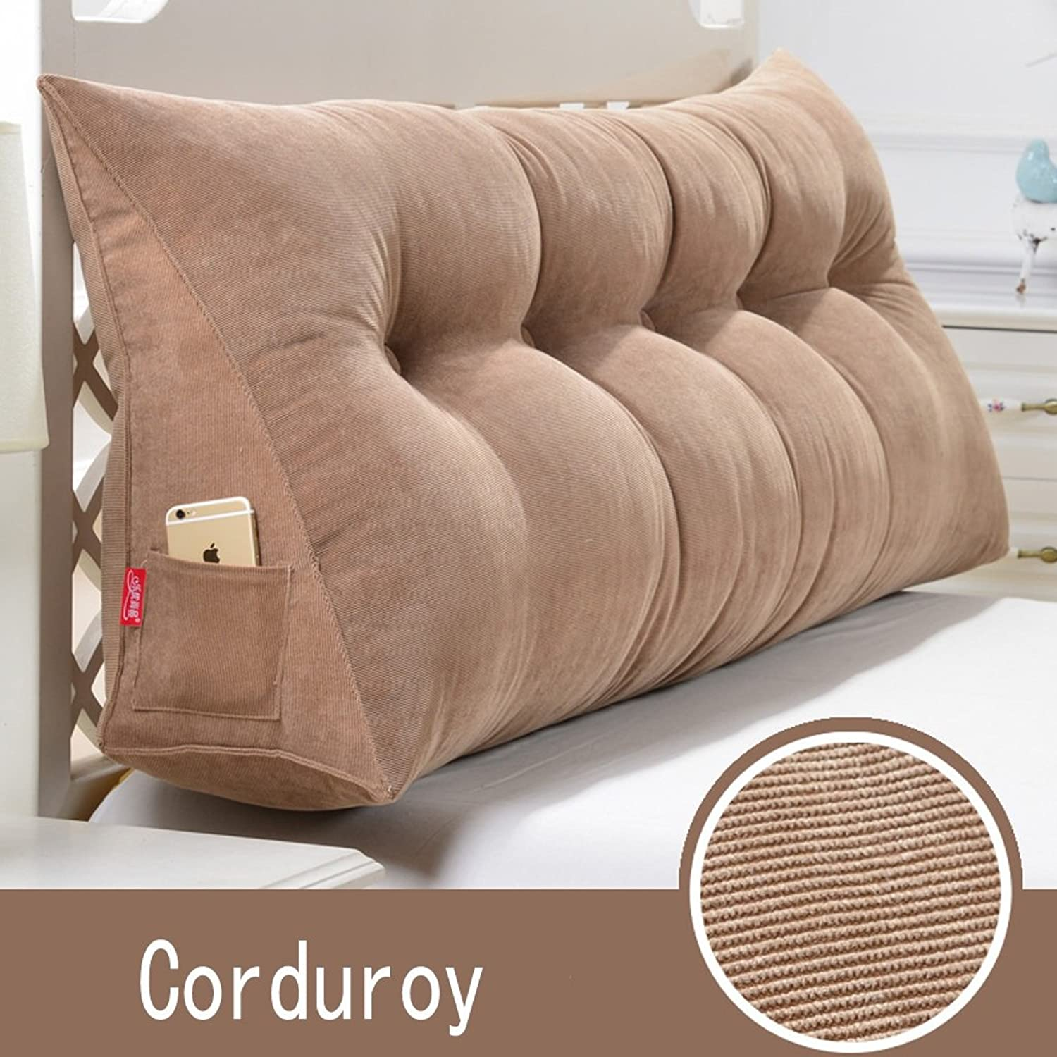 RFJJAL Triangle Headboard Cushion Single Double Pillow Pillow Reading Bed Office Backrest Removable Corduroy Bedding (color  Coffee, Size  135  20  50cm) (color   B, Size   60  20  50cm)