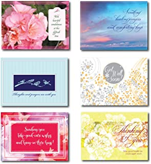 Get Well and Sympathy Greeting Cards in a Box Set Assortment. 30 Cards; 5 Each of 6 Contemporary Designs, Each with a Different Verse. Suitable for Personal or Business Use.
