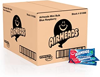 Airheads Candy Mini Bars, Blue Raspberry, Individually Wrapped Bulk Box, Non Melting, Party, 8 Pound