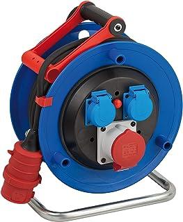 Brennenstuhl Garant CEE 1 IP44 Kabeltrommel CEE-Kabeltrommel mit 30m Kabel in schwarz, aus Spezialkunststoff, für den ständigen Einsatz im Außenbereich